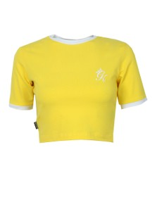 Gym King Womens Yellow Ringer Crop Tee