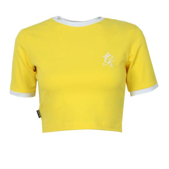 Gym King Womens Yellow Ringer Crop Tee main image