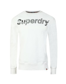 Superdry Mens White Monochrome Overs Sweat