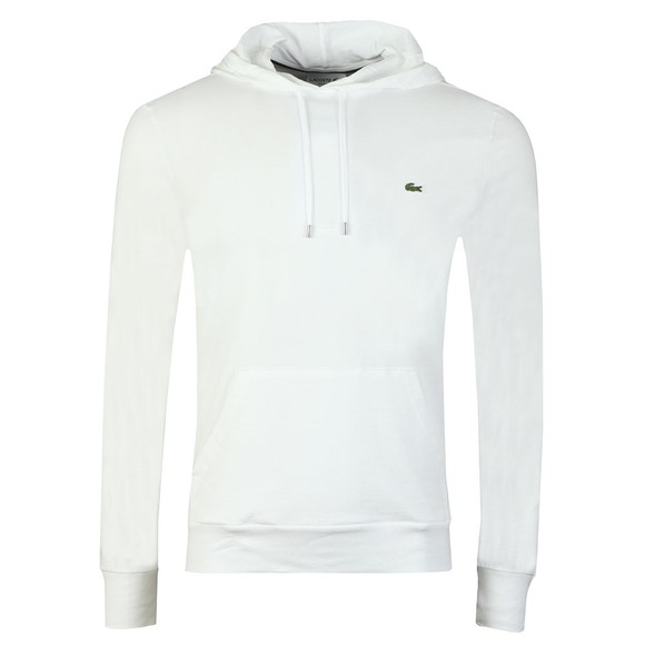 Lacoste Mens White L/S Hooded Top main image