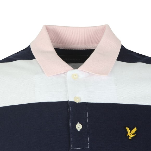 Lyle and Scott Mens Blue Wide Stripe Polo