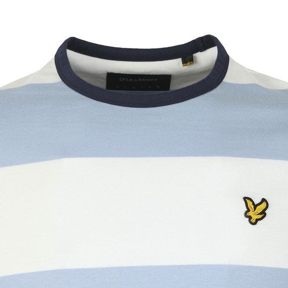 Lyle and Scott Mens Blue Wide Stripe Ringer Tee main image