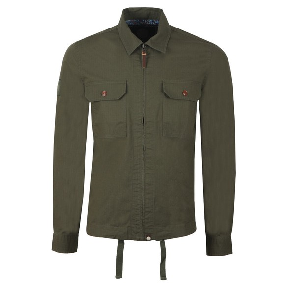 Pretty Green Mens Green Zip Up Overshirt main image