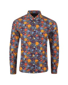Pretty Green Mens Purple Slim Fit Floral Print Shirt