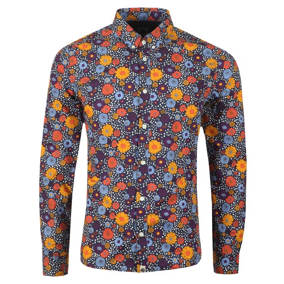 Pretty Green Mens Purple Slim Fit Floral Print Shirt main image