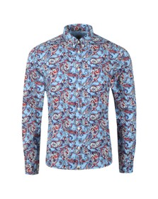 Pretty Green Mens Blue Slim Fit Paisley Print Shirt