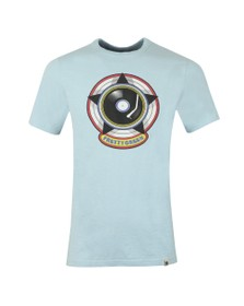 Pretty Green Mens Blue Vinyl Print T-Shirt