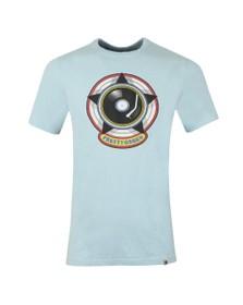 Pretty Green Mens Blue Vinyl Print T-Shirt