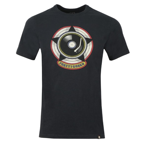 Pretty Green Mens Black Vinyl Print T-Shirt main image