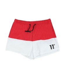 Eleven Degrees Mens Red Vortex Block Swim Short