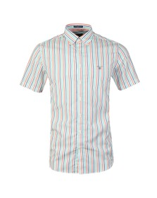 Gant Mens Orange 3 Colour Stripe SS Shirt