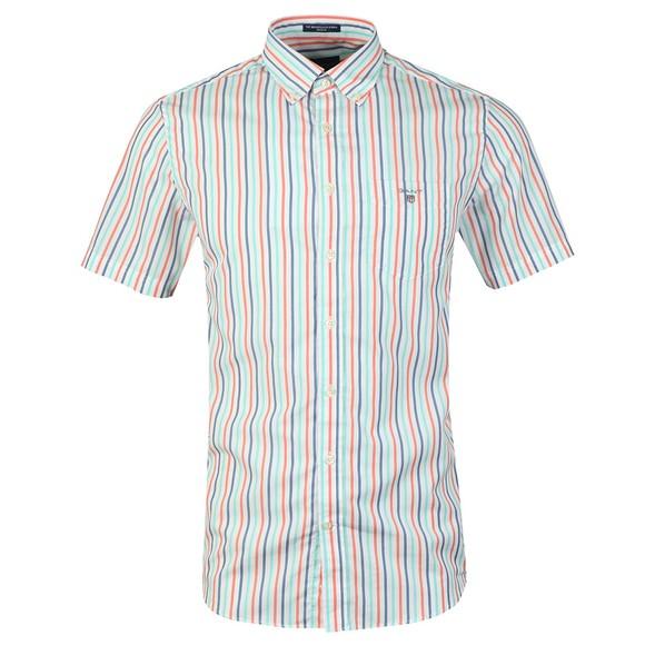 Gant Mens Orange 3 Colour Stripe SS Shirt main image