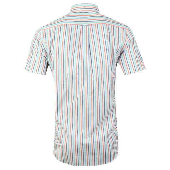 Gant Mens Orange 3 Colour Stripe SS Shirt main image