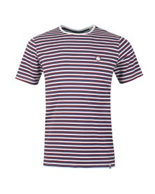 Pretty Green Mens Blue Feeder Stripe Tee