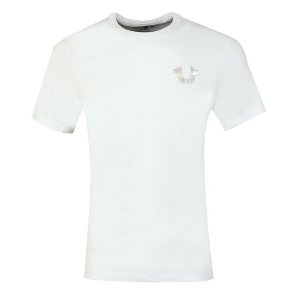 True Religion Mens White Holographic Silver Puff T Shirt