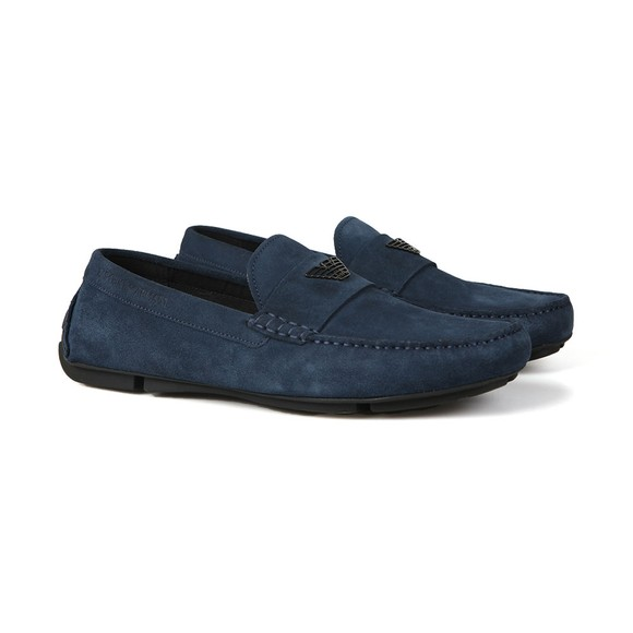 Emporio Armani Mens Blue Logo Driver Shoe
