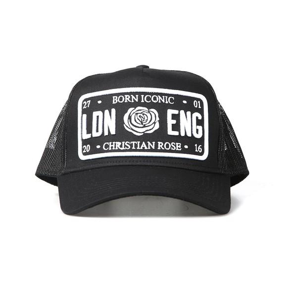 Christian Rose Mens Black Iconic Plate Cap
