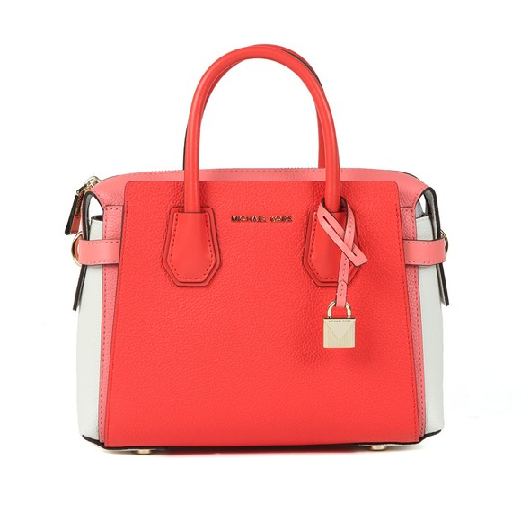 Michael Kors Womens Red Mercer Belted Satchel