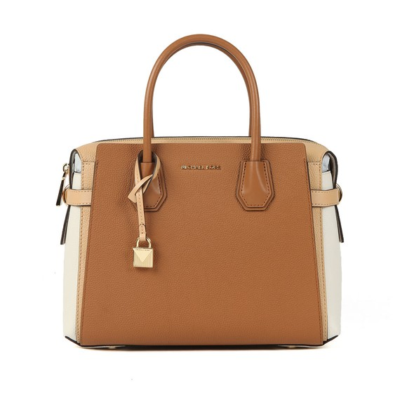 Michael Kors Womens Brown Mercer Pebbled Leather Satchel main image