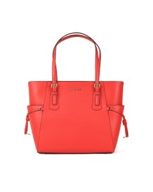 Michael Kors Womens Red Voyager Crossgrain Leather Tote Bag