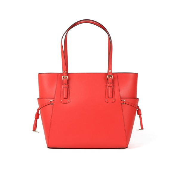 Michael Kors Womens Red Voyager Crossgrain Leather Tote Bag main image