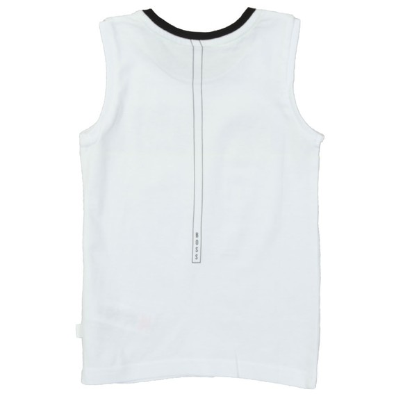 BOSS Boys White Boys Stripe Logo Vest main image