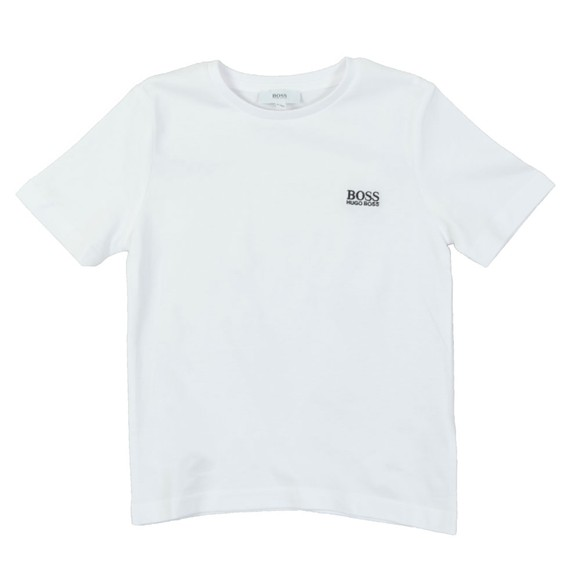 BOSS Bodywear Boys White Small Embroidered Logo T Shirt main image
