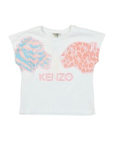 Kenzo Kids Girls White Fanette Tiger & Lion T Shirt