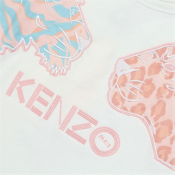 Kenzo Kids Girls White Fanette Tiger & Lion T Shirt