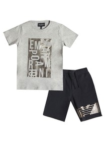 Emporio Armani Boys Grey Logo T Shirt & Short Set