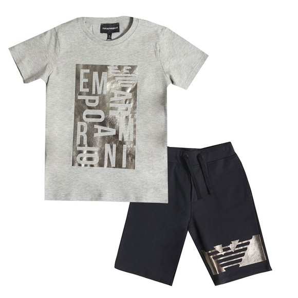 Emporio Armani Boys Grey Logo T Shirt & Short Set main image