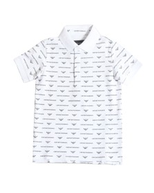 Emporio Armani Boys White Boys Allover Logo Polo Shirt