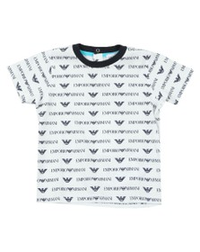 Emporio Armani Baby Boys White All Over Logo T Shirt