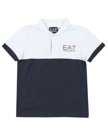 EA7 Emporio Armani Boys White Boys Colour Block Polo Shirt