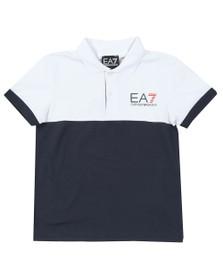 EA7 Emporio Armani Boys White Boys Colour Block Polo Shirt