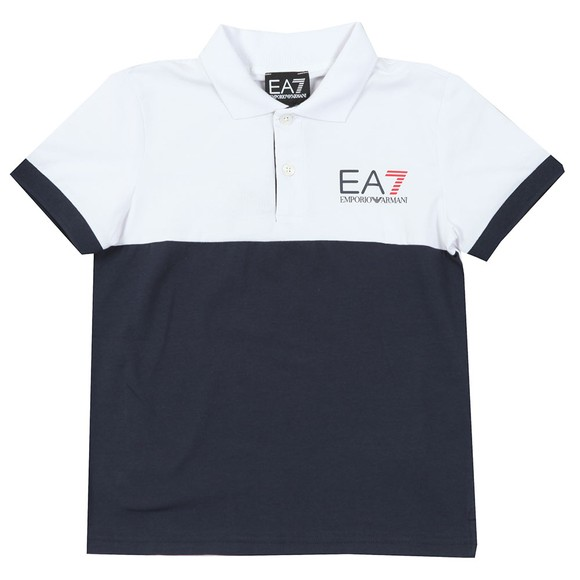 EA7 Emporio Armani Boys White Boys Colour Block Polo Shirt main image