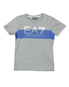 EA7 Emporio Armani Boys Grey Split Logo T Shirt