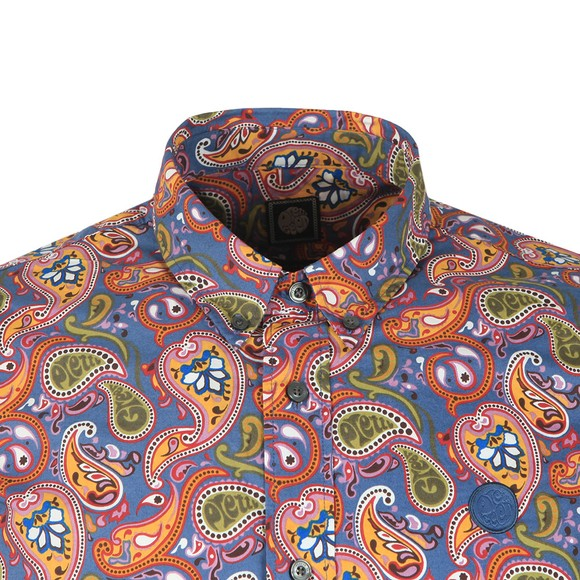 Pretty Green Mens Multicoloured Slim Fit Paisley Print Shirt main image