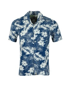 Pretty Green Mens Blue S/S Floral Print Shirt