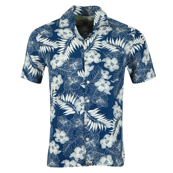 Pretty Green Mens Blue S/S Floral Print Shirt main image