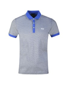 BOSS Mens Blue Athleisure Paddy 2 Striped Polo Shirt