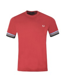 Fred Perry Mens Red Stripe Cuff Tee