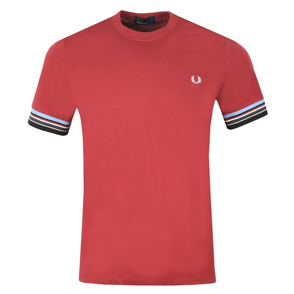 Fred Perry Mens Red Stripe Cuff Tee main image