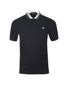 Fred Perry Mens Blue Stripe Collar Pique Polo Shirt