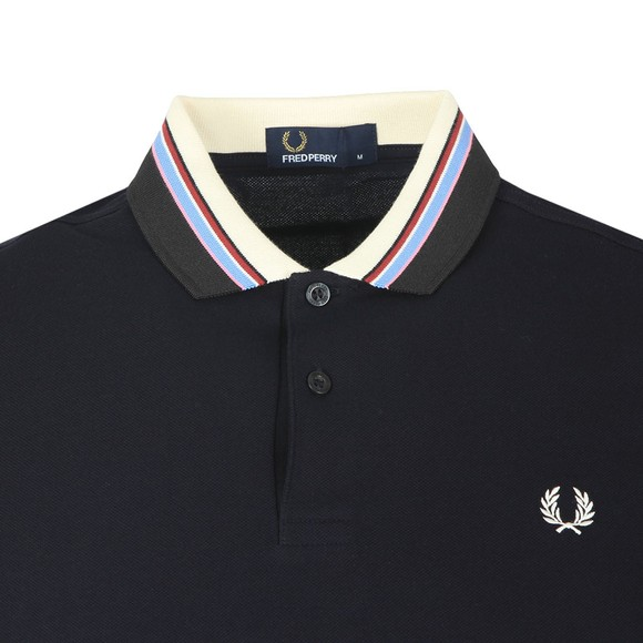Fred Perry Mens Blue Stripe Collar Pique Polo Shirt main image