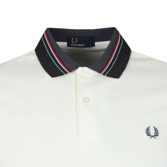 Fred Perry Mens Off-White Stripe Collar Pique Polo Shirt main image