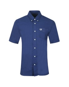 Fred Perry Mens Blue S/S Oxford Shirt