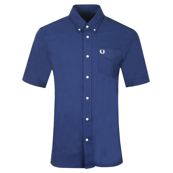 Fred Perry Mens Blue S/S Oxford Shirt main image