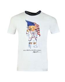 Polo Bear By Ralph Lauren Mens White American Flag Bear T-Shirt
