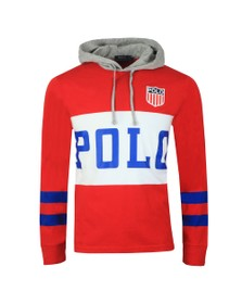 Polo Ralph Lauren Mens Red Polo Shield Overhead Hoodie
